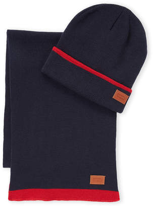 Levi's Two-Piece Contrast Stripe Beanie & Scarf Set