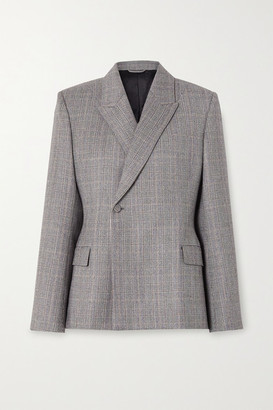 Balenciaga Prince Of Wales Checked Wool Blazer - Gray