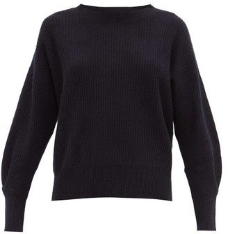 Allude Ribbed Cashmere Sweater - Navy