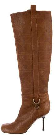 Christian Dior Leather Cannage Over-The-Knee Boots