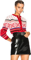 MSGM Jacquard Knit Cardigan in Abstract,Red.
