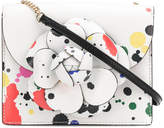 Oscar de la Renta paint spatter flower shoulder bag