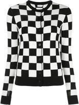 Rosetta Getty checkered knit round neck cardigan