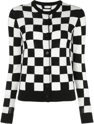 Rosetta Getty Checkered Knit Round Neck Cardigan