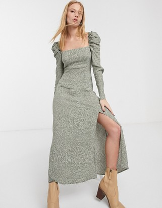And other stories & dotty print puff sleeve maxi dress in green