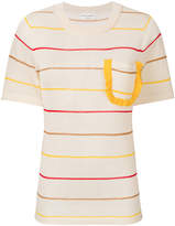 Sonia Rykiel striped frill chest pocket T-shirt