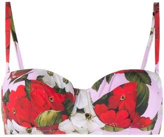 Dolce & Gabbana Floral-Print Balconette Bra