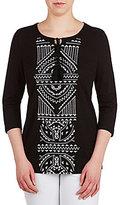 Allison Daley Embroidered Tassel Tie-Neck 3/4 Sleeve Shirt