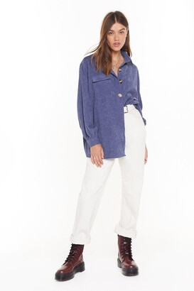 Nasty Gal Womens Don't Texture Back Oversized Corduroy Shirt - Denim-Blue