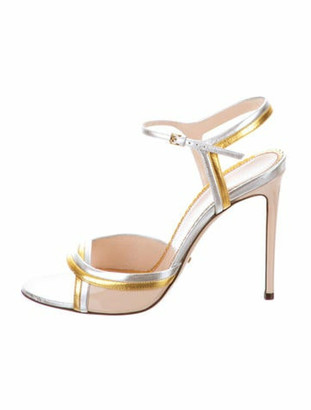 Gucci Leather Ankle Strap Sandals w/ Tags Silver