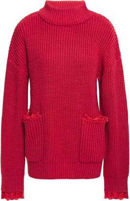 Paper London Lace-trimmed Ribbed Wool-blend Sweater