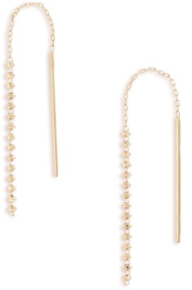 Poppy Finch Shimmer 18K Gold Short Threader Earrings