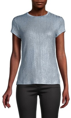 Ted Baker Metallic Rib-Knit T-Shirt