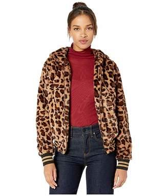 Miss Me Leopard Striped Faux Fur Jacket