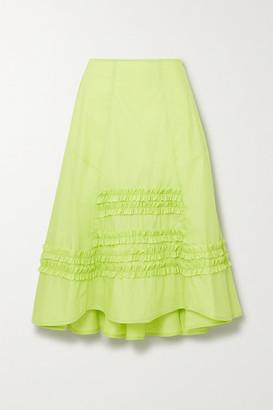 Molly Goddard Jane Ruffled Cotton-poplin Midi Skirt - Green