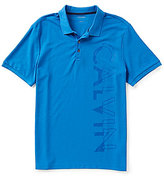 Calvin Klein Large Logo Solid Pique Short-Sleeve Polo Shirt