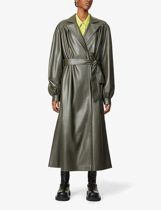 Lesyanebo Puff-sleeve oversized faux-leather coat