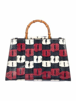Gucci Snakeskin Medium Nymphaea Top Handle Bag Navy