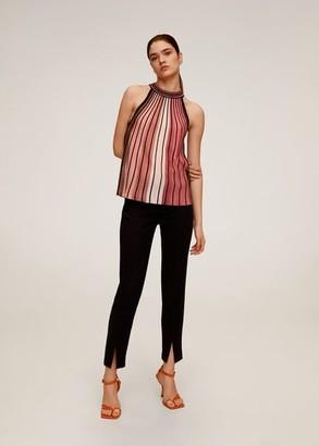 MANGO Striped knit top pink - S - Women