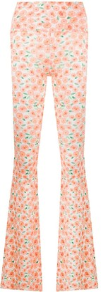 C'Est La V.It Floral Print Flared Trousers
