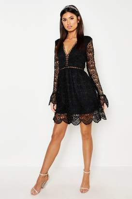 boohoo Premium Lace Flared Sleeve Skater Dress