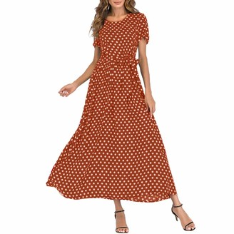 Hulky Women's Dresses HULKY Women's Short Sleeve Loose Plain Beach Floral Print Polka Dot Bandage Flowy Party Maxi Dresses Casual Long Dresses with Belt(Navy M)