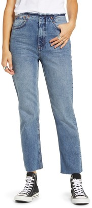 Topshop MOTO RAW WAIST BAND STRAIGHT JEANS