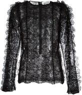 Givenchy ruffled lace long sleeve top - women - Polyamide/Viscose - 36