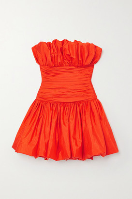 Carolina Herrera Strapless Ruched Faille Mini Dress - Red