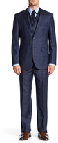 English Laundry Blue Plaid Two Button Notch Lapel Wool Suit