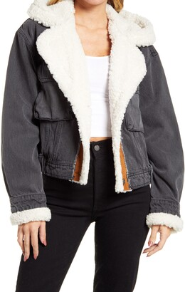Free People Perry Hooded Denim Jacket with Faux Shearling Trim