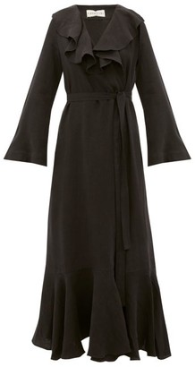 Casa Raki - Esme Ruffled Linen Wrap Dress - Black