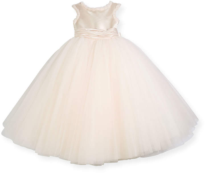 Joan Calabrese Cap-Sleeve Dress w/ Full Tulle Skirt, Pink, Size 4-8