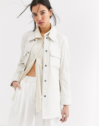 Muu Baa Muubaa longline leather jacket in cream
