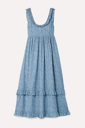 Hatch The Rafaela Ruffled Floral-print Cotton-jacquard Midi Dress - Blue