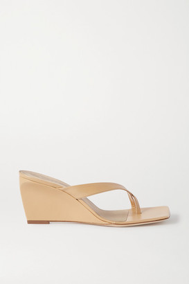 BY FAR Theresa Leather Wedge Mules - Neutral