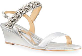 Badgley Mischka Larisa Metallic Wedge Sandals