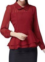 uxcell® Women Pleated Upper Layered Slim Fit Chiffon Peplum Top