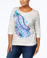 Karen Scott Plus Size Cotton Peacock Graphic Top, Created for Macy's