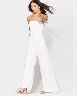 Halston Strapless Jumpsuit W/ Flowy Pants