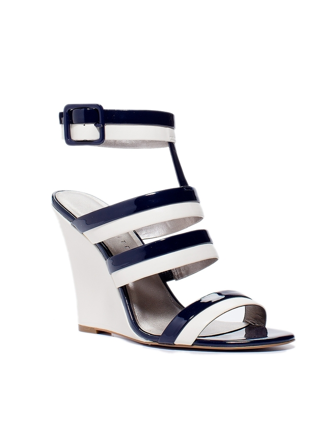 The Limited Strappy Two-Tone Wedge Sandals