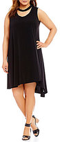 Gibson & Latimer Plus Bar Neck Asymmetrical Hem Knit Dress