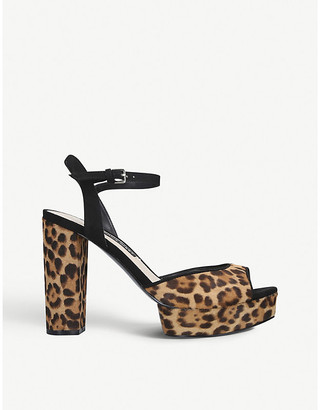 Nine West Gail leopard-print leather platform sandals