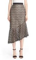 Lela Rose Wave Lace Asymmetrical Ruffle Hem Skirt