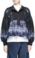 Sacai Tribal lace print twill panel drawstring shirt