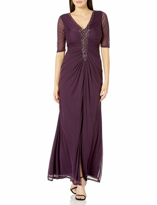 Onyx Nite Women's Long Mesh Gown with Beaded Front V-Neck