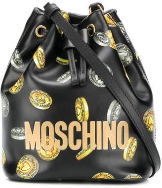 Moschino heart coin print bucket bag