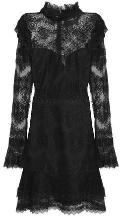 Nicholas Ruffled Cotton-Blend Lace Mini Dres