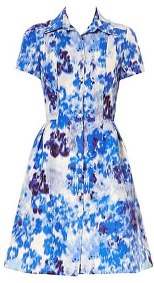 Carolina Herrera Abstract -Print Short-Sleeve Shirtdress