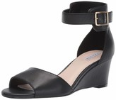 Tahari Womens Pacen Wedge Sandal Black Leather 8.5 M